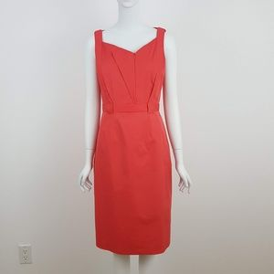 ELIE TAHARI Coral Belted Sheath Dress 8